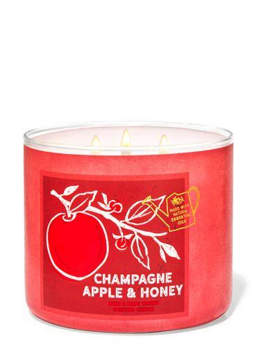 Vela-3-Mechas-Champagne-Apple---Honey-Bath-Body-Works