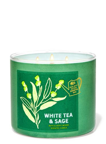 Vela-3-Mechas-White-Tea---Sage-Bath-Body-Works